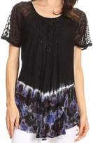 Sakkas 17783 - Clarice Petite Raglan Lace Up Tie Dye Blouse with Embroidery and Sequins - OS