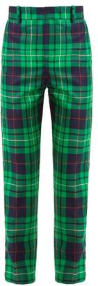 Charles Jeffrey Loverboy Pammy Tartan Straight-leg Wool Trousers - Womens - Green Navy