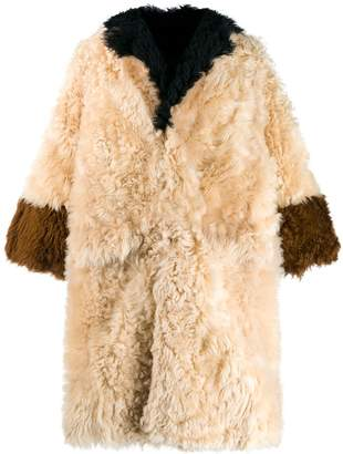 Marni panelled fur coat