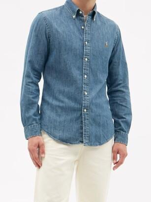 Polo Ralph Lauren Slim-fit Logo-embroidered Cotton-chambray Shirt - Denim