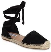 Steve Madden Women's Rosette Ankle Wrap Espadrille Flat