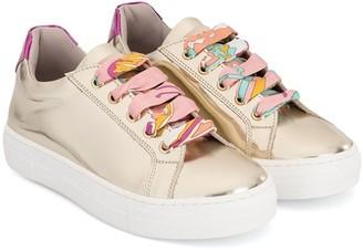 Emilio Pucci Junior Metallic Lace-Up Sneakers