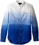 Polo Ralph Lauren Long Sleeve Oxford Dip-Dye Top (Big Kids)