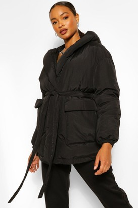 boohoo Wrap Detail Belted Hooded Puffer