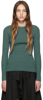 3.1 Phillip Lim Green Ribbed Pullover Sweater