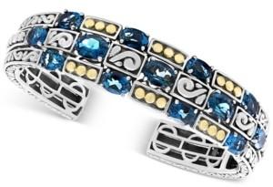 Effy London Blue Topaz Cuff Bracelet (15 ct. t.w.) in Sterling Silver & 18k Gold