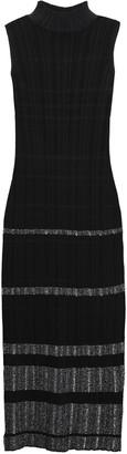 Proenza Schouler Metallic-trimmed Ribbed Boucle-knit Midi Dress