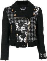 Moschino patch biker jacket