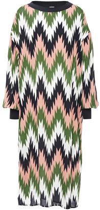 M Missoni Wool-trimmed Printed Textured-crepe Dres