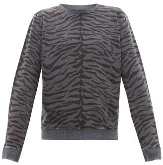 Saint Laurent Zebra Print Cotton Sweatshirt - Mens - Black