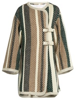 See by Chloe Contrast-striped oversized woven coat