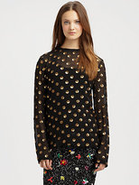 Suno Dotted Silk Sequin Top