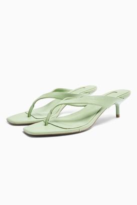 Topshop WIDE FIT NINA Green Mini Heel Mules