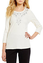 Allison Daley Crew-Neck Top with Embroidery and Hotfix Embellished