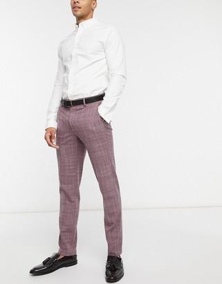 ASOS DESIGN wedding skinny suit pants in burgundy crosshatch