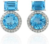 Artisan 18Kt White Gold Blue Topaz Natural Diamond Stud Earring Jewelry