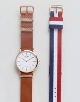Reclaimed Vintage Leather & Canvas Interchangable Strap Watch Gift Set