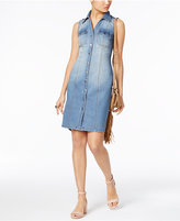 INC International Concepts Crochet-Back Denim Shirtdress, Only at Macy's