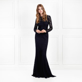 Rachel Zoe Angie Open-Back Embroidered Lace Gown