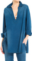 Max Studio Washed Indigo Linen Tunic