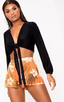 PrettyLittleThing Black Tie Front Slinky Crop Top