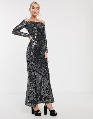 Goddiva bandeau maxi dress in charcoal sequin-Black