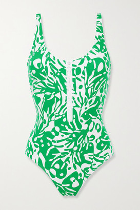 Eres Shrimp Zip-detailed Printed Swimsuit - Green