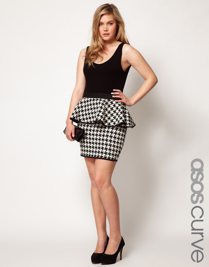 Asos Exclusive Peplum Skirt In Dogtooth