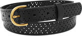 Fossil Scallop Perforated Leather Belt