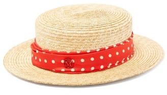 Maison Michel Kiki Polka-dot Band Straw Hat - Beige Multi