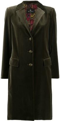 Etro Single-Breasted Velvet Coat