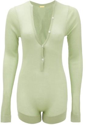 Dodo Bar Or Tommy Buttoned Rib-knitted Silk Bodysuit - Light Green