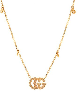 Gucci GG-logo Diamond & 18kt Gold Necklace - Yellow Gold