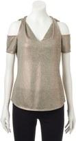 Juicy Couture Women's Metallic Cold-Shoulder Tee