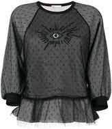 RED Valentino eye embroidered lace detail sweatshirt