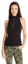 XOXO Women's Contrast Lace Cutout Top