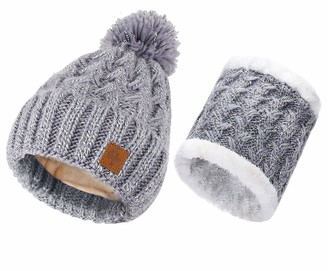MFAZ Morefaz Ltd Set Scarf & Hat Women Winter Beanie Hat Knitted Hats Fleece Lining Pom Pom (Grey Set Hat & Scarf)