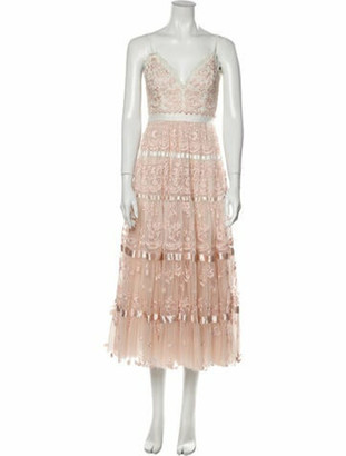 Needle & Thread Lace Pattern Long Dress Pink