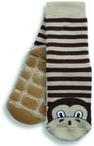 Country Kids Big Boys' Non-Skid Animal Slipper Socks Marcel Monkey, Pack of 1, Fits 9-11 Years