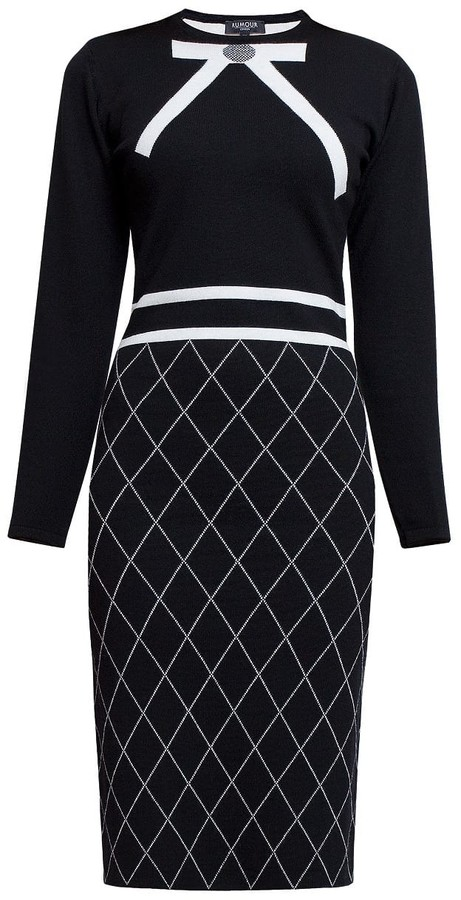 1efee22fe4 Rumour London Bow Jacquard Knitted Dress