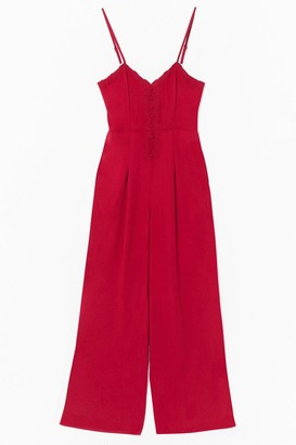 Nasty Gal Womens Sew Far Sew Good Embroidered Jumpsuit - S, Red