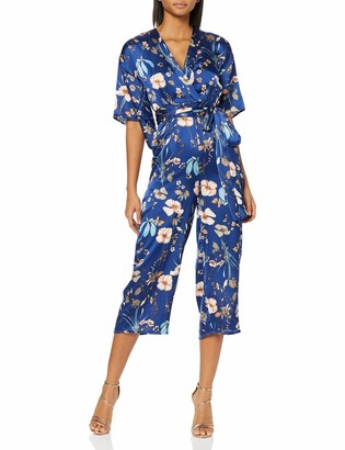 Yumi Women's Garden Story Print Kimono Sleeve Jumpsui Jumpsuit