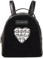 Thumbnail for your product : Love Moschino Embellished Velvet-paneled Faux Leather Backpack