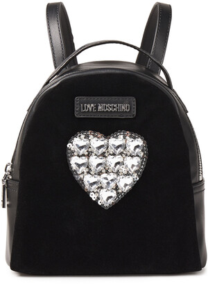Love Moschino Embellished Velvet-paneled Faux Leather Backpack