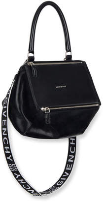 Givenchy Pandora Small Smooth Leather Crossbody Bag with Logo-Web Strap