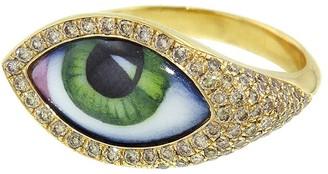 Green Enamel Evil Eye Ring - Yellow Gold