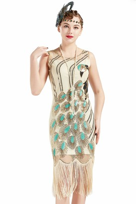 BABEYOND 1920s Vintage Peacock Sequin Fringed Party Sleeveless Flapper Dress with Scoop Neck(Blackgreen XL)