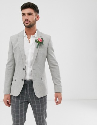Asos Design DESIGN wedding skinny wool mix blazer with wide herringbone in gray