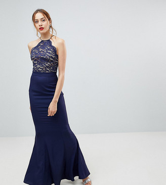 Jarlo Tall high neck lace dress with tie back detail-Navy