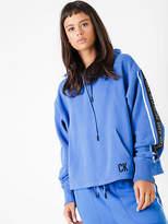 CK Calvin Klein New Logo Tape Cropped Hoodie In Turkish Sea Blue Womens Hoodies